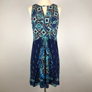dm Donna Morgan Keyhole Watercolor Geometric Dress